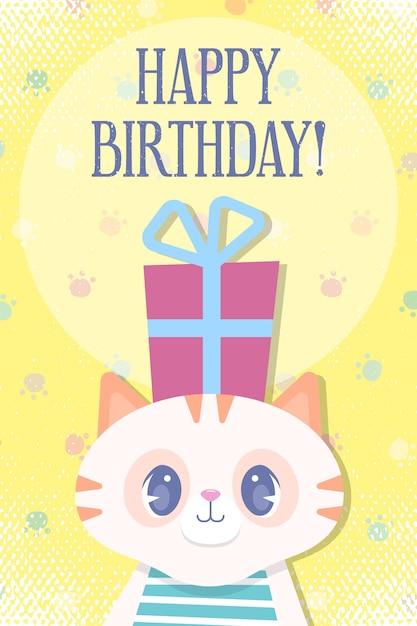Tarjeta de cumpleaños de dibujos animados para niños. vector premium Vector Premium