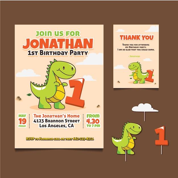 Tarjeta De Cumpleaños Con Diseño De Dinosaurio Vector Gratis