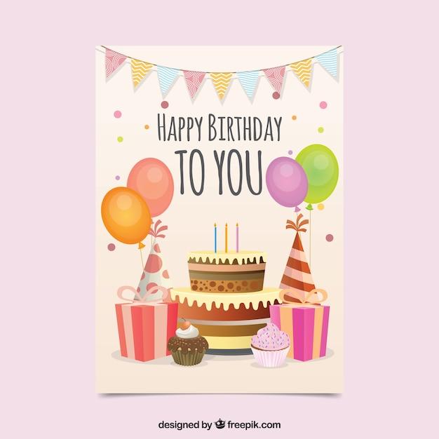 Tarjeta de cumpleaños con estilo plano vector gratuito