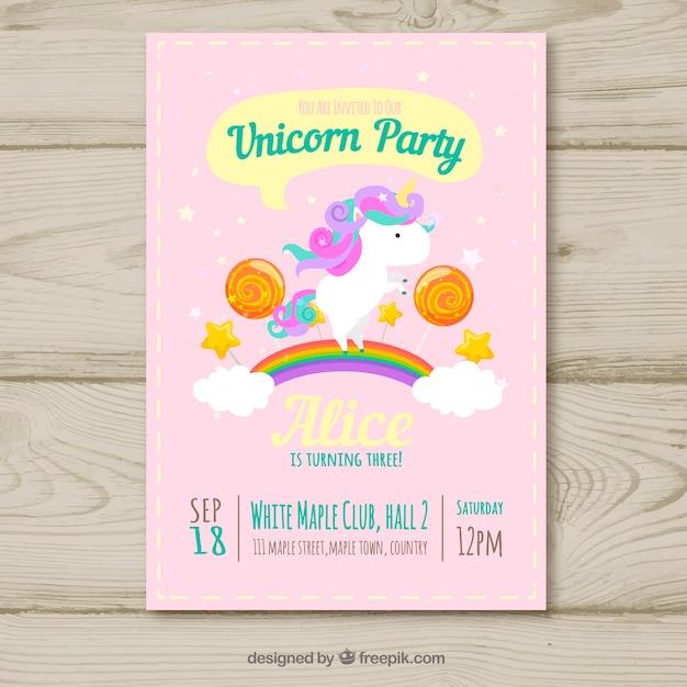 Tarjeta de cumpleaños de fiesta de unicornio Descargar Vectores gratis