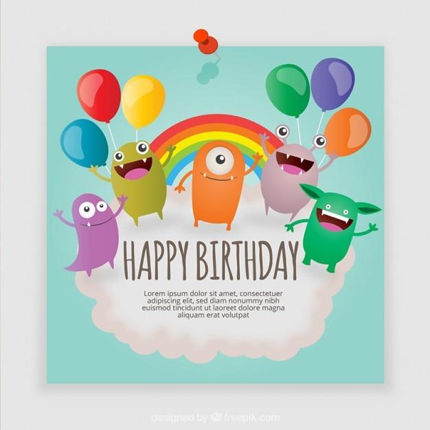 Tarjeta De Cumpleaños De Monstruos Vector Gratis