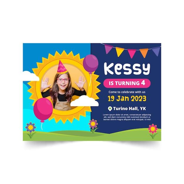 Tarjeta de cumpleaños para niños con niña feliz vector gratuito