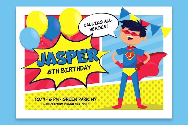 Tarjeta de cumpleaños para niños con superman vector gratuito