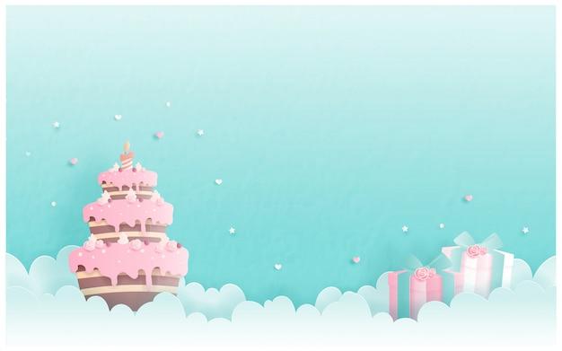 Tarjeta de cumpleaños con pastel en papel cortado estilo. ilustración vectorial Vector Premium