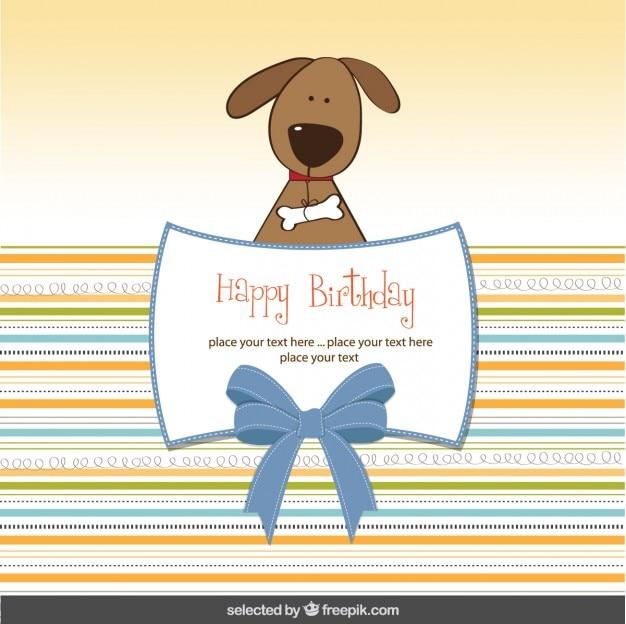 Tarjeta De Cumpleaños Con Perro Encantador Vector Gratis