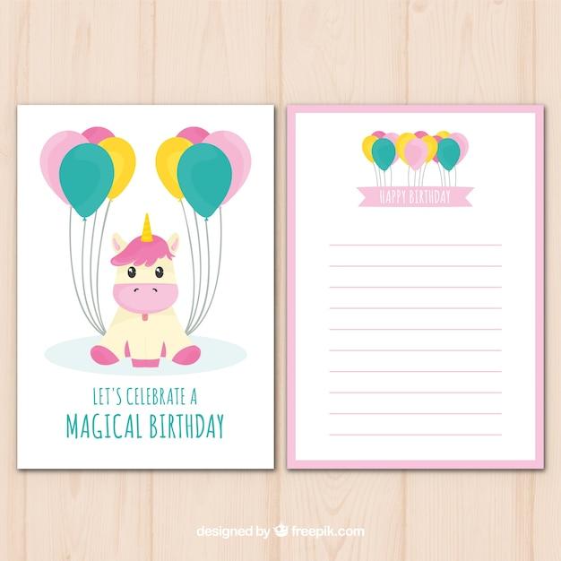 Tarjeta de cumpleaños tierna con unicornio y globos Descargar Vectores gratis