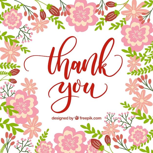 Tarjeta de agradecimiento con diseño de flores rosas | Descargar ...