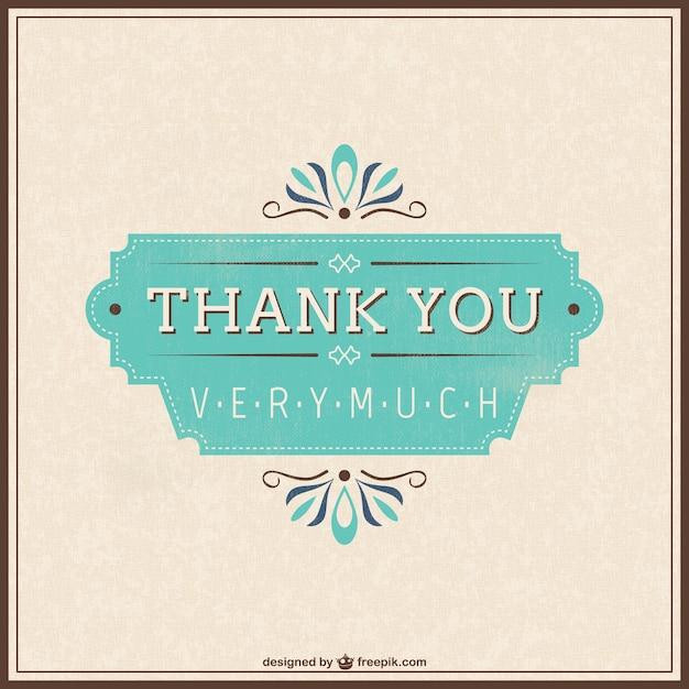 Tarjeta de agradecimiento retro gratis Vector Gratis