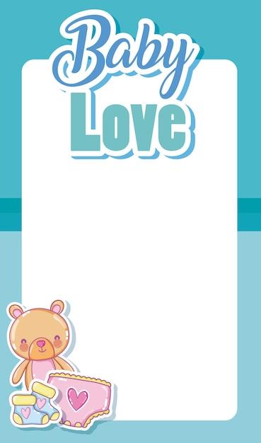 Tarjeta de amor para bebés con marco en blanco y lindos dibujos ...