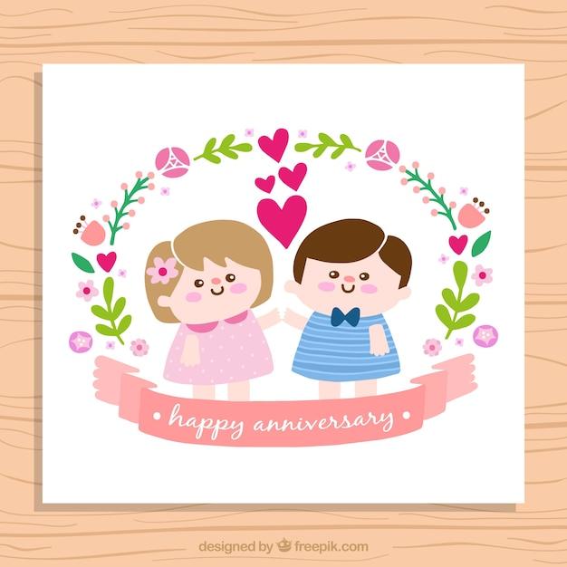 bodas para descargar gratis tarjeta de aniversario de simptica pareja de nios