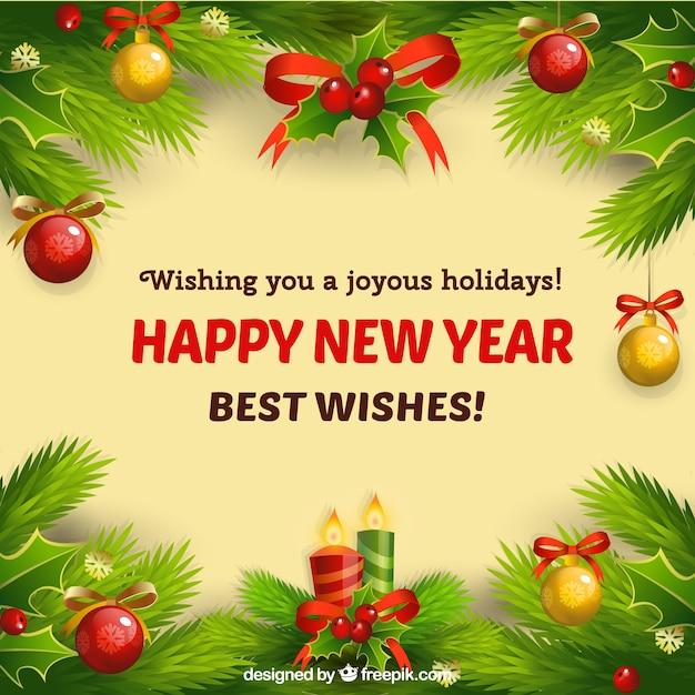 Tarjeta de Año Nuevo con adornos de Navidad Vector Gratis