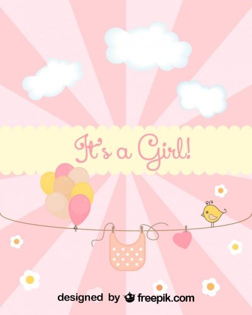Tarjeta de baby shower para el nacimiento de una niña | Descargar ...