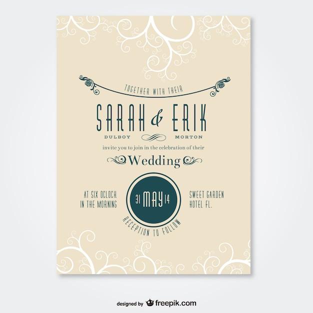 Tarjeta de boda con adornos Vector Gratis