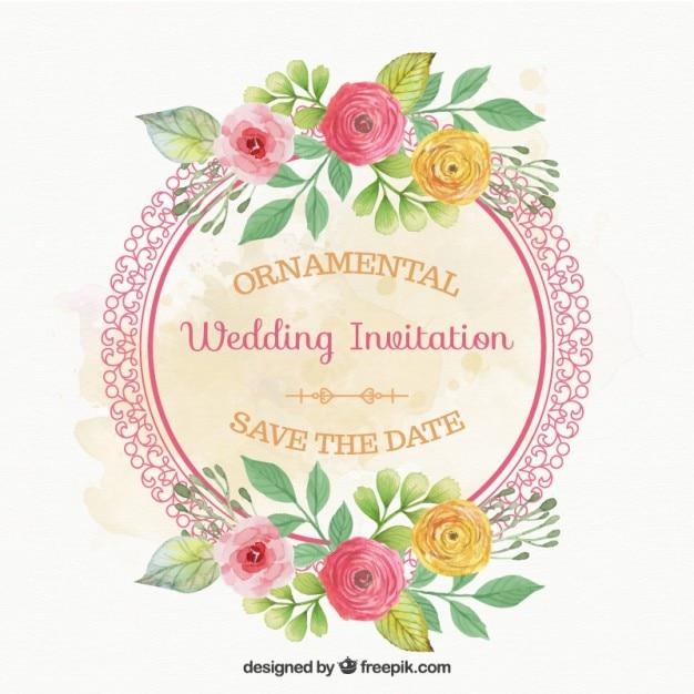 Tarjeta de boda de marco redondo con flores | Descargar Vectores gratis