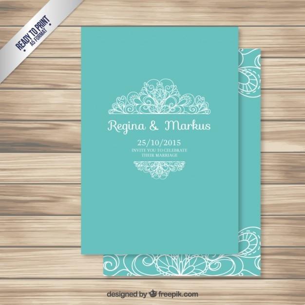 Tarjeta de boda ornamental de color turquesa descargar - Como se hace el color turquesa ...