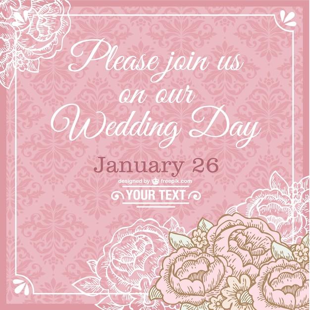 tarjeta de boda rosa vector gratis
