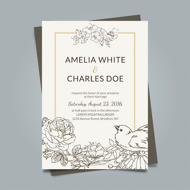 tarjeta de boda vintage con elementos dibujados a mano vector gratis
