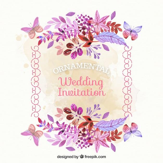 tarjeta de boda vintage con flores de acuarela vector gratis
