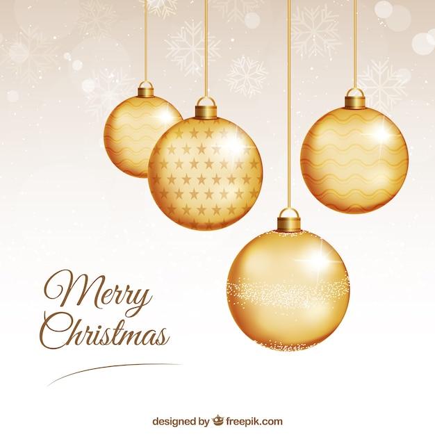 tarjeta de bolas de navidad doradas vector premium