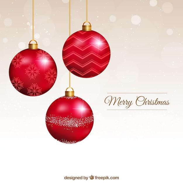 Tarjeta de bolas de navidad rojas descargar vectores premium - Bolas de navidad rojas ...