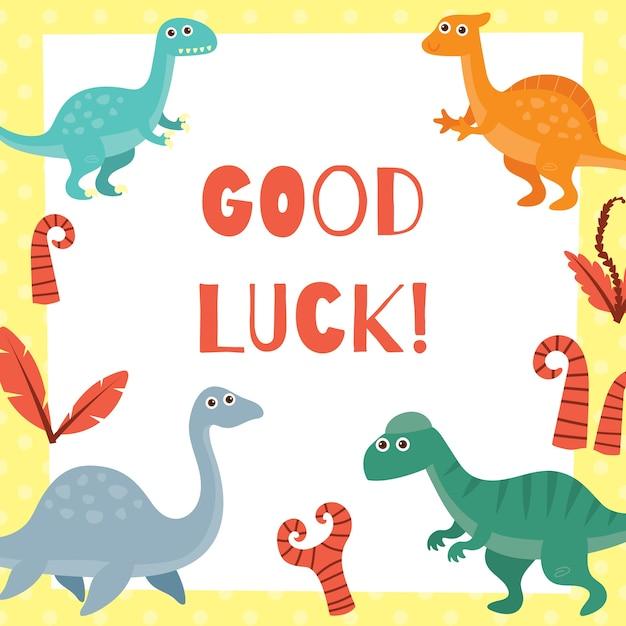 Tarjeta de buena suerte para niños en el tema lindo dinosaurio ...