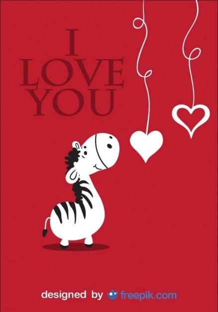 Tarjeta de cebra de historieta con mensaje de amor Vector Gratis