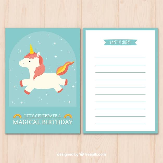 Tarjeta de cumpleaños adorable con unicornio fantástico Descargar Vectores gratis