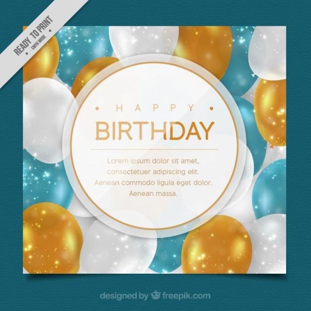 tarjeta de cumpleaos con globos elegantes vector gratis