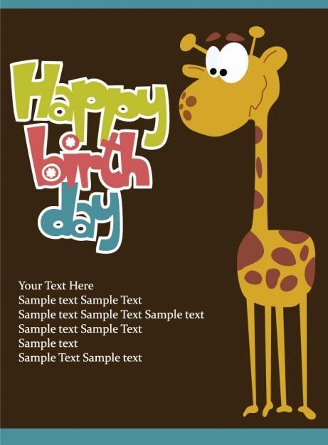 Tarjeta de cumpleaños con jirafa vector | Descargar Vectores gratis