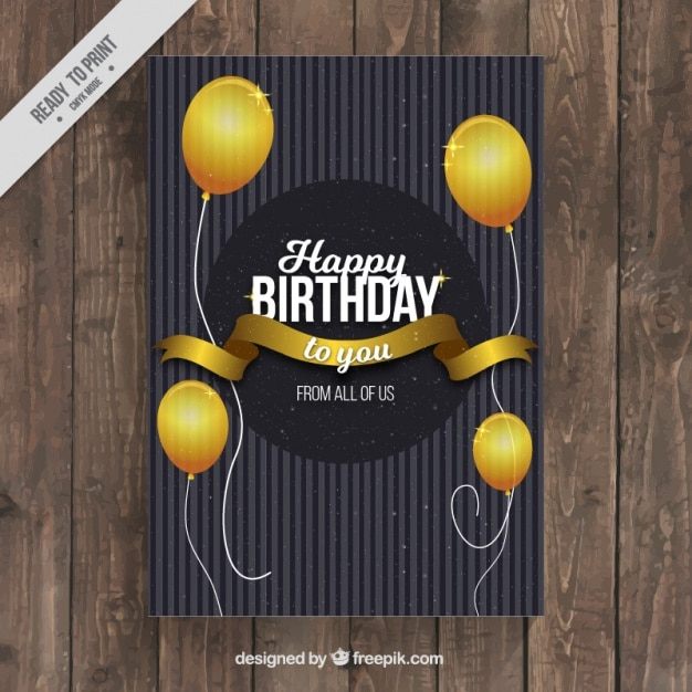 tarjeta de cumpleaos elegante con globos dorados vector gratis