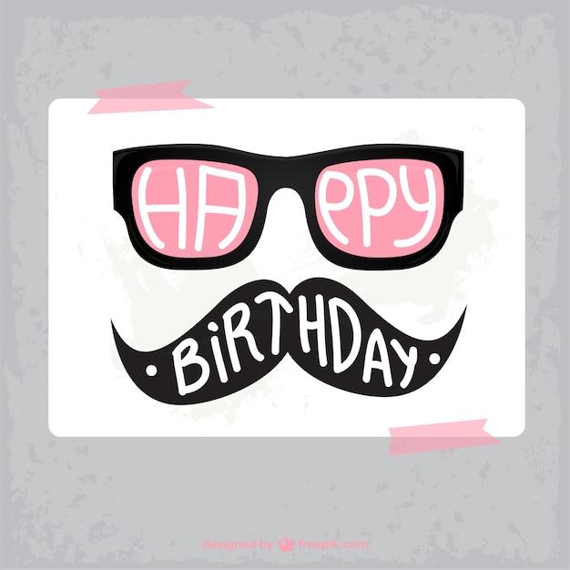 Tarjeta de cumpleaños hipster Vector Gratis