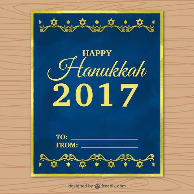 Tarjeta de felicitación azul marino de hanukkah con marco dorado ...