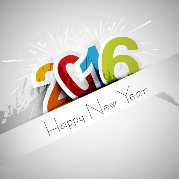 tarjeta de felicitación de feliz año nuevo 2016 Vector Gratis