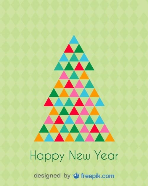 Tarjeta de felicitaci n de feliz a o nuevo de un rbol de - Tarjetas felicitacion navidad ...