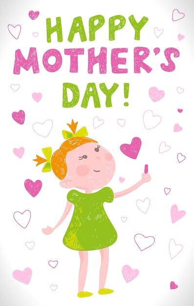 Tarjeta de felicitación día de las madres en el estilo de dibujos ...