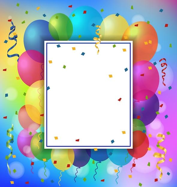 Tarjeta de felicitación, globos y marco   Descargar Vectores gratis