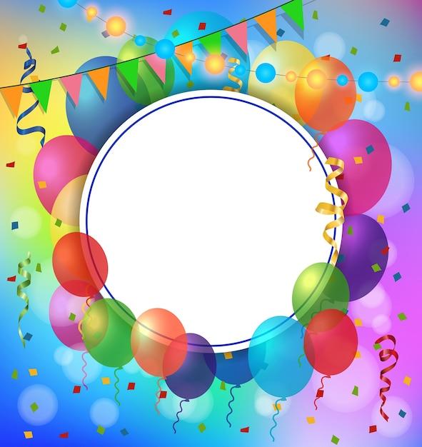 Tarjeta de felicitación, marco redondo y globos Vector Gratis