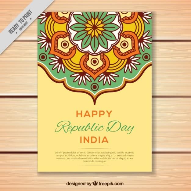 Tarjeta de felicitación para el día de la república india en diseño ...