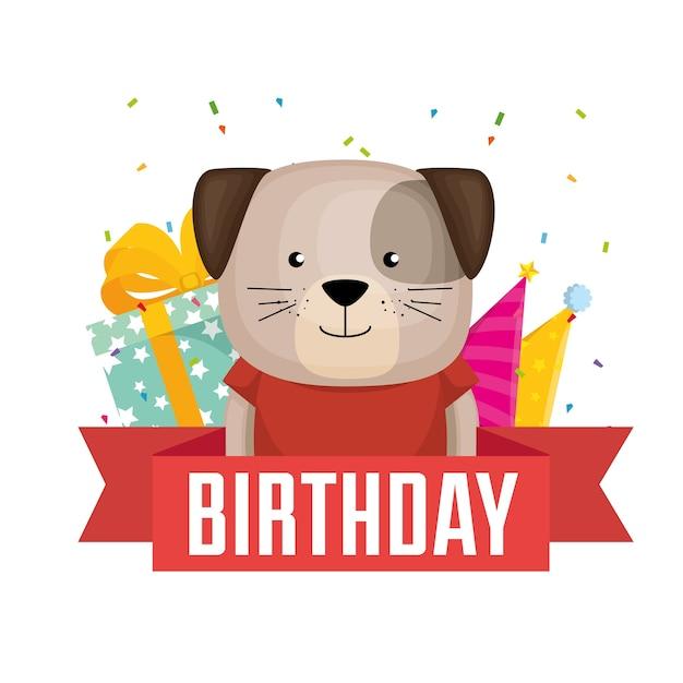 Tarjeta de feliz cumpleaños con diseño de ilustración de vector de ...