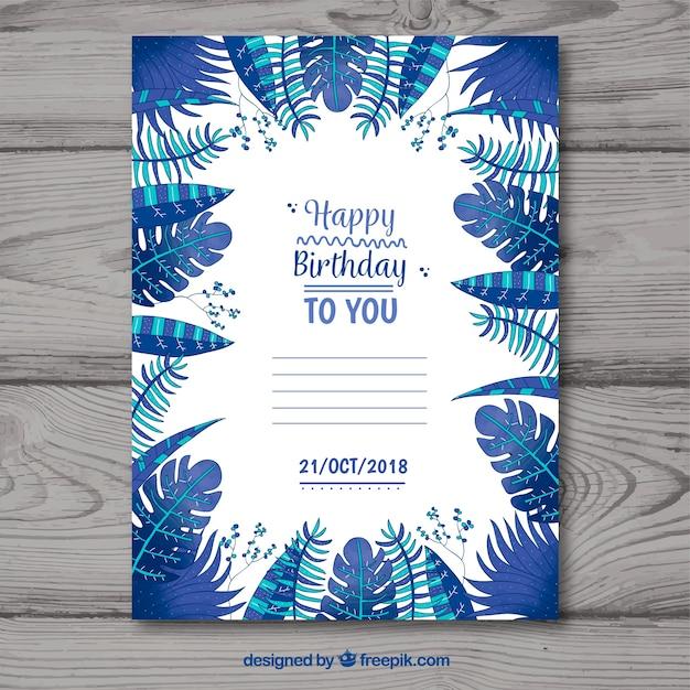 Tarjeta de feliz cumpleaños con hojas azules en estilo plano ...