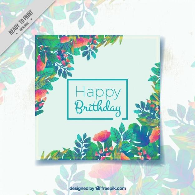 Tarjeta de feliz cumpleaños con hojas en diferentes colores ...
