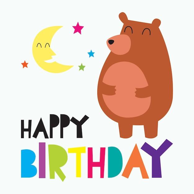 Tarjeta de feliz cumpleaños para niños, diseño de tarjeta colorido ...