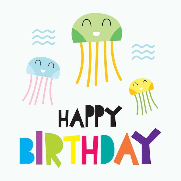 Tarjeta de feliz cumpleaños para niños   Descargar Vectores Premium