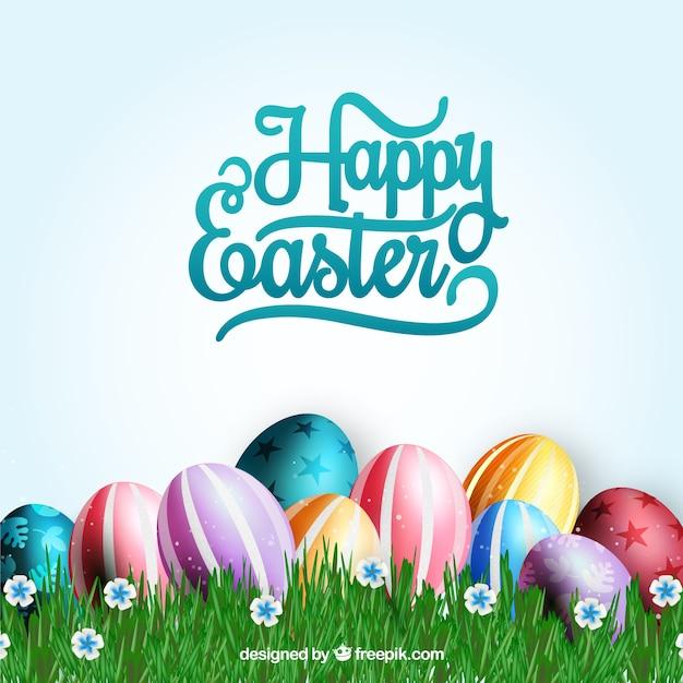 Tarjeta de huevos decorados de pascua descargar vectores - Huevos decorados de pascua ...