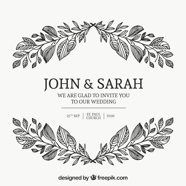 Tarjeta de invitación de boda con ornamentos florales | Descargar ...