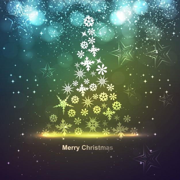 tarjeta de navidad brillante con copos de nieve