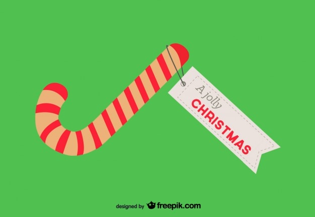 tarjeta de navidad con bastn de caramelo vector gratis