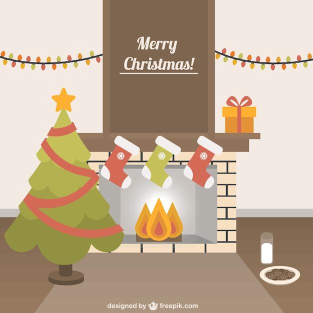 Tarjeta de navidad con chimenea descargar vectores gratis - Dibujos de chimeneas de navidad ...