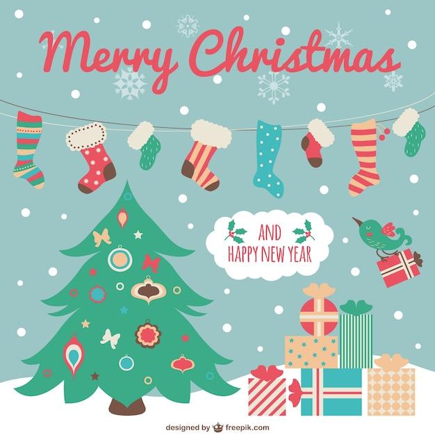 tarjeta de navidad con dibujos animados vector gratis