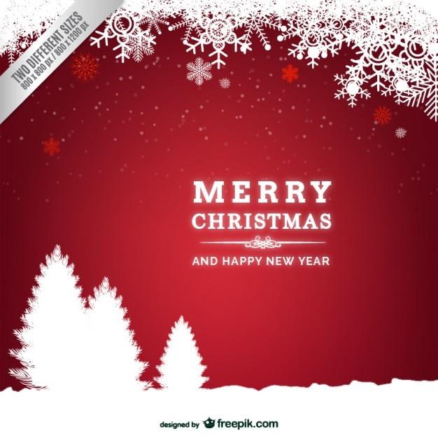 tarjeta de navidad con siluetas de rboles